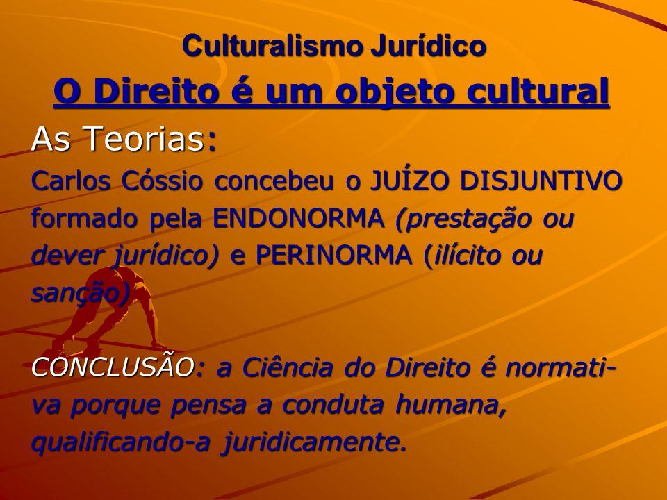 Culturalismo Jurídico O Direito é um objeto cultural As Teorias: Carlos Cóssio concebeu o JUÍZO DISJUNTIVO formado pela ENDONORMA (prestação ou dever