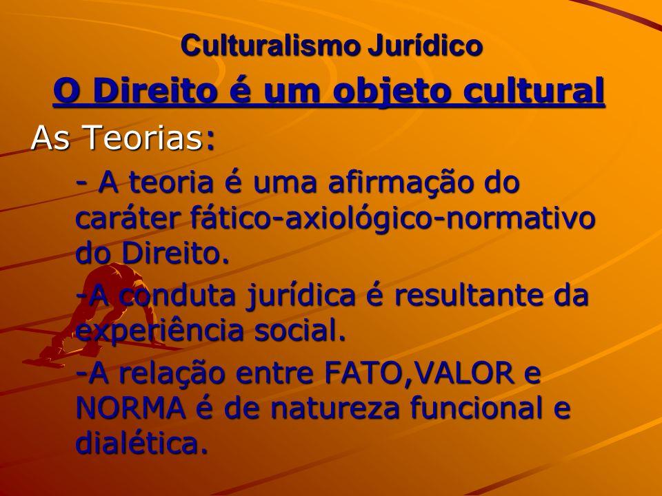 Culturalismo Jurídico O Direito é um objeto cultural As Teorias: - A teoria é uma afirmação do caráter fático-axiológico-normativo do Direito. -A cond