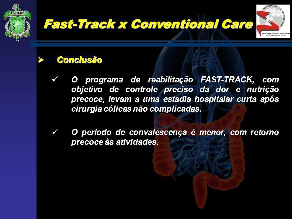 Fast-Track x Conventional Care Conclusão Conclusão O programa de reabilitação FAST-TRACK, com objetivo de controle preciso da dor e nutrição precoce,