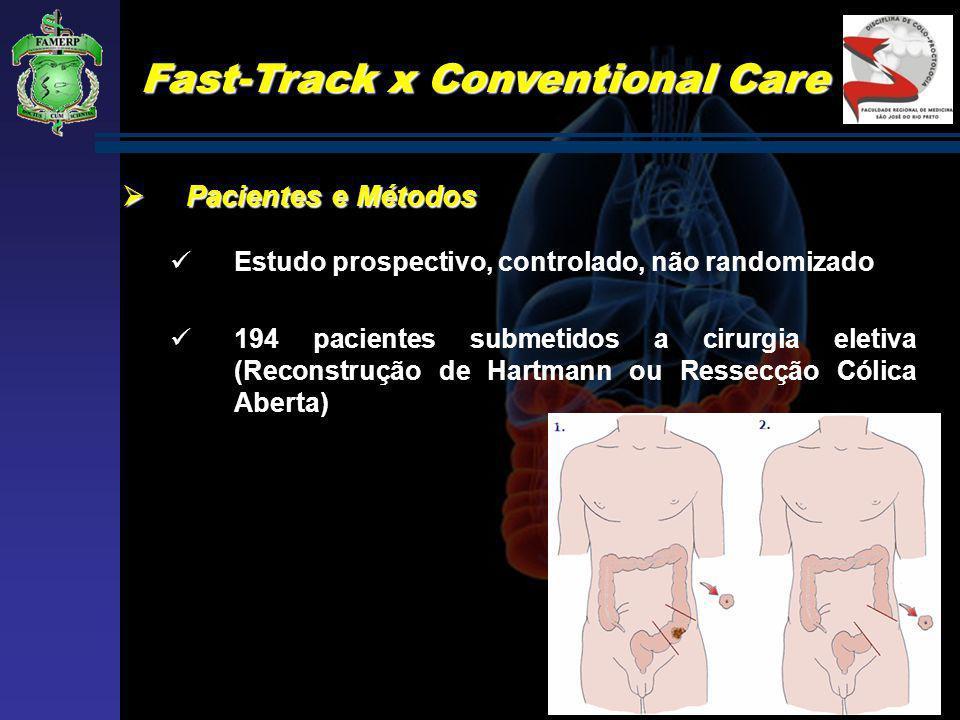 Fast-Track x Conventional Care Pacientes e Métodos Pacientes e Métodos Estudo prospectivo, controlado, não randomizado 194 pacientes submetidos a ciru
