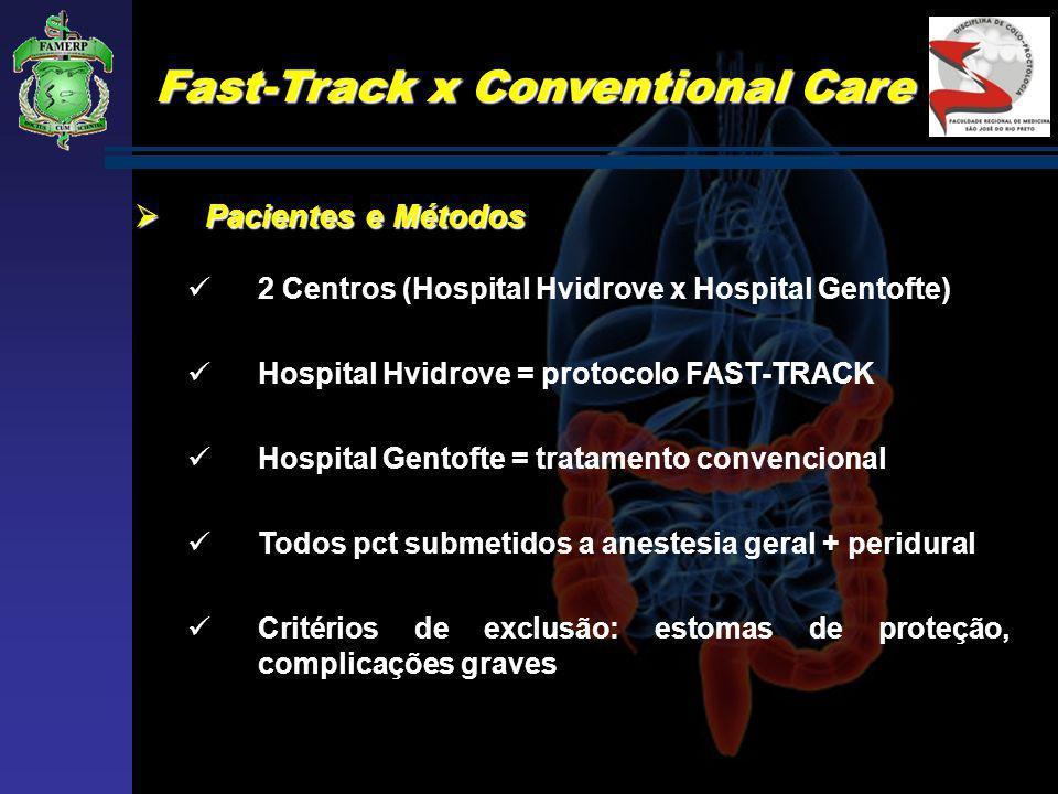 Fast-Track x Conventional Care Pacientes e Métodos Pacientes e Métodos 2 Centros (Hospital Hvidrove x Hospital Gentofte) Hospital Hvidrove = protocolo