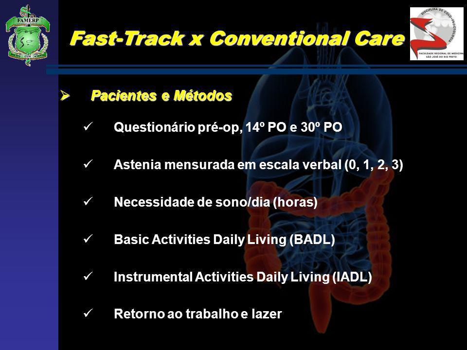 Fast-Track x Conventional Care Pacientes e Métodos Pacientes e Métodos Questionário pré-op, 14º PO e 30º PO Astenia mensurada em escala verbal (0, 1,
