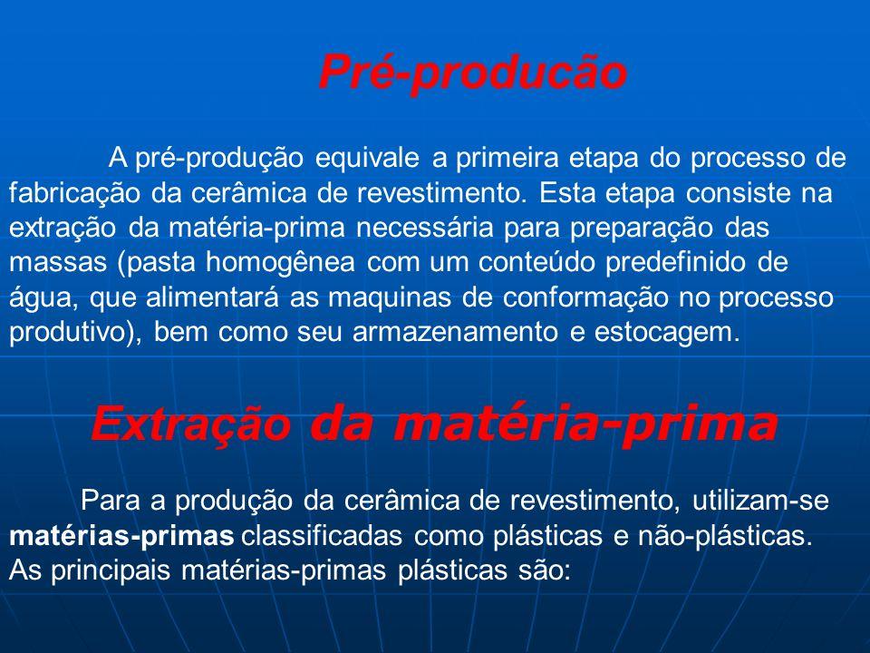 Argilas plásticas (queima branca ou clara); Argilas fundentes (queima vermelha); Caulim Dentre as matérias não-plásticas, destacam-se: Fílitos; Fundentes feldpáticos; Talco; Carbonatos Cada matéria-prima exerce uma função específica durante o processo produtivo, porém as plásticas são essenciais na fase de conformação, pois fornecem à massa a plasticidade necessária, para se obter um revestimento de alta qualidade mecânica.