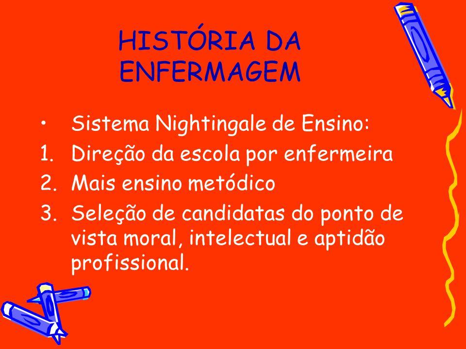 HISTÓRIA DA ENFERMAGEM Sistema Nightingale de Ensino: 1.Direção da escola por enfermeira 2.Mais ensino metódico 3.Seleção de candidatas do ponto de vi