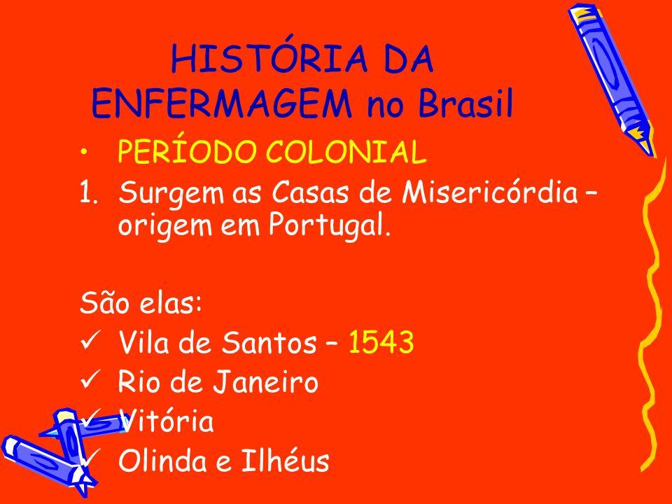 HISTÓRIA DA ENFERMAGEM no Brasil PERÍODO COLONIAL 1.Surgem as Casas de Misericórdia – origem em Portugal. São elas: Vila de Santos – 1543 Rio de Janei