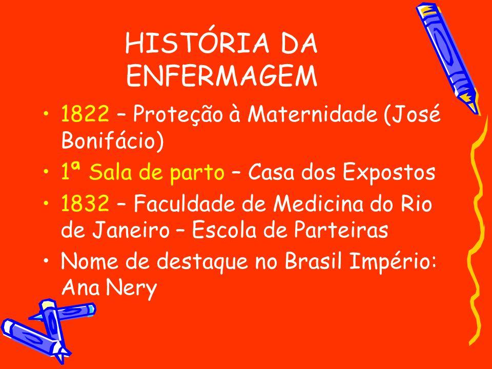 HISTÓRIA DA ENFERMAGEM 1822 – Proteção à Maternidade (José Bonifácio) 1ª Sala de parto – Casa dos Expostos 1832 – Faculdade de Medicina do Rio de Jane