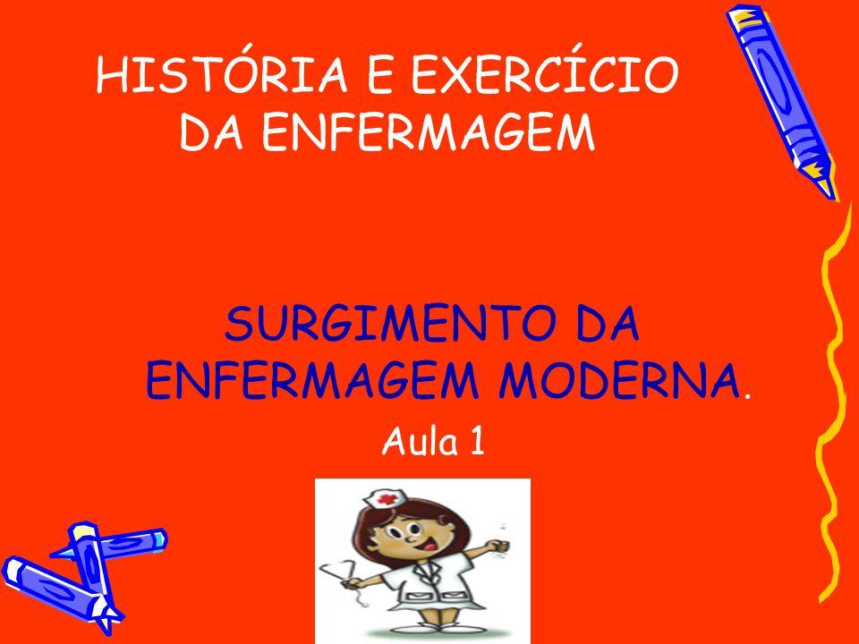 HISTÓRIA E EXERCÍCIO DA ENFERMAGEM SURGIMENTO DA ENFERMAGEM MODERNA. Aula 1