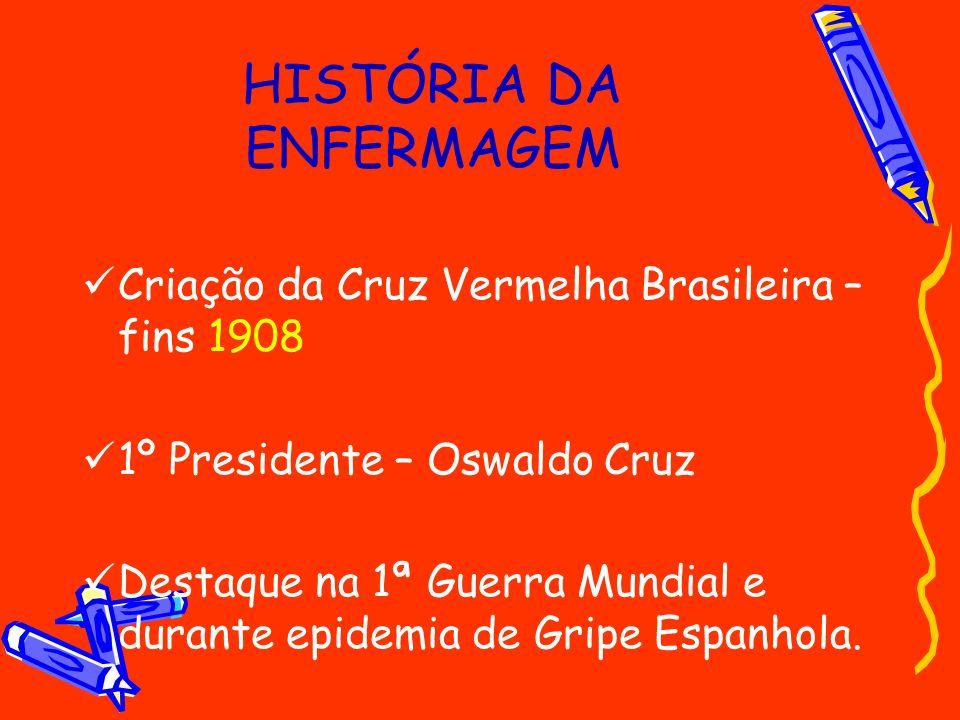 HISTÓRIA DA ENFERMAGEM Criação da Cruz Vermelha Brasileira – fins 1908 1º Presidente – Oswaldo Cruz Destaque na 1ª Guerra Mundial e durante epidemia d