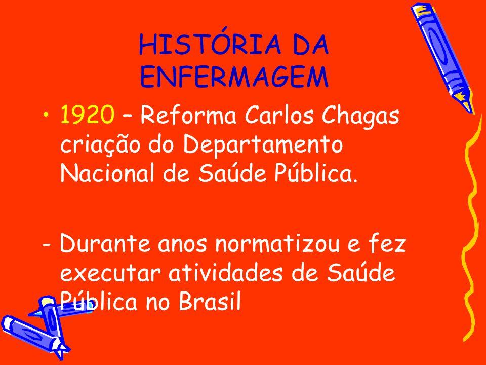 HISTÓRIA DA ENFERMAGEM 1920 – Reforma Carlos Chagas criação do Departamento Nacional de Saúde Pública. - Durante anos normatizou e fez executar ativid