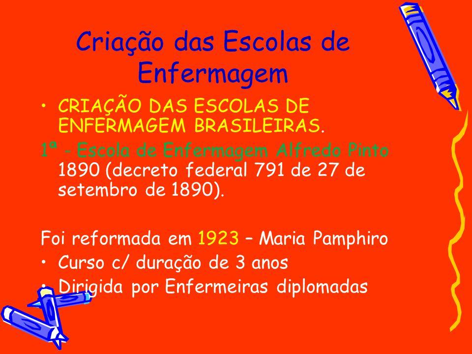 Criação das Escolas de Enfermagem CRIAÇÃO DAS ESCOLAS DE ENFERMAGEM BRASILEIRAS. 1ª - Escola de Enfermagem Alfredo Pinto 1890 (decreto federal 791 de