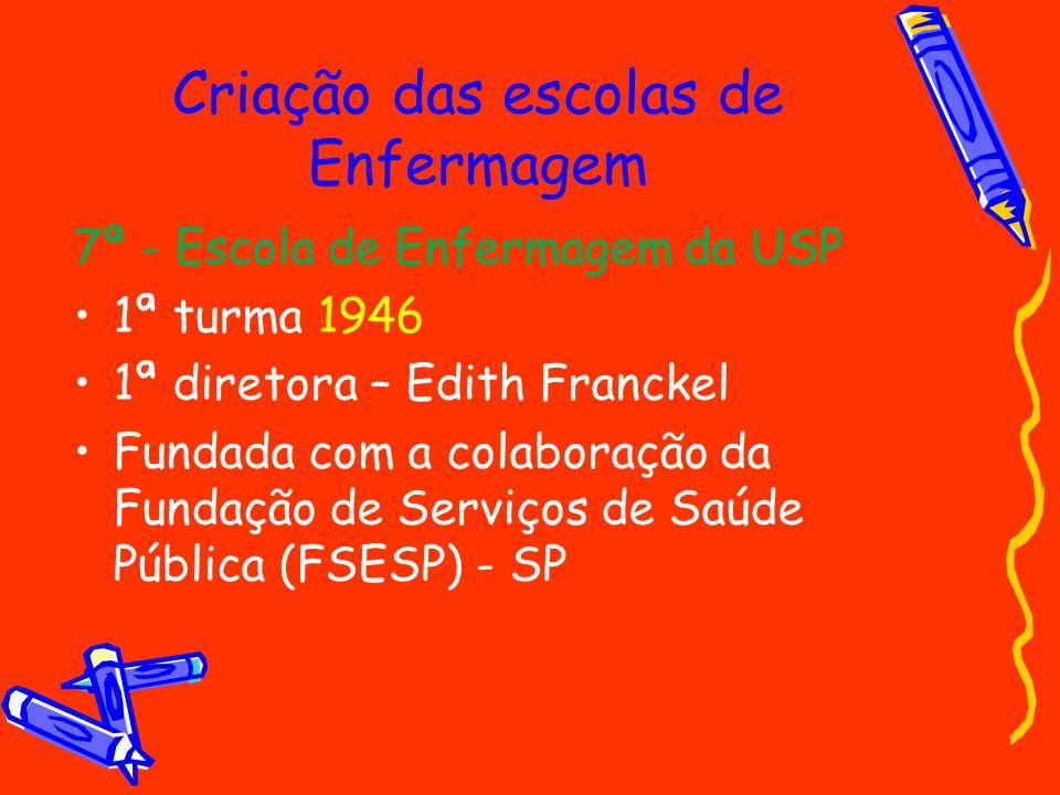 Criação das escolas de Enfermagem 7ª - Escola de Enfermagem da USP 1ª turma 1946 1ª diretora – Edith Franckel Fundada com a colaboração da Fundação de