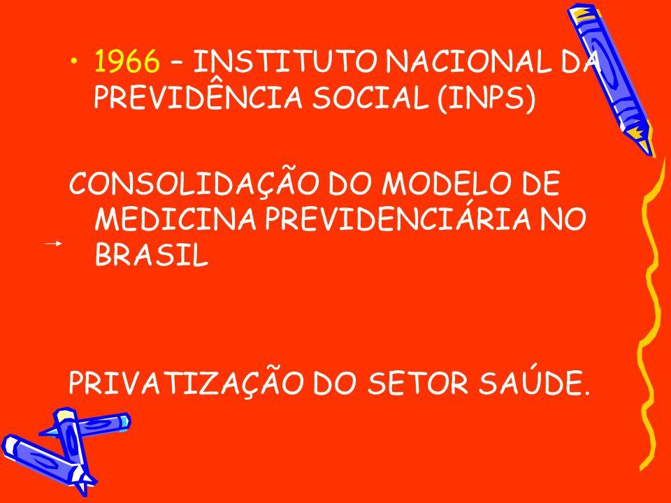 1966 – INSTITUTO NACIONAL DA PREVIDÊNCIA SOCIAL (INPS) CONSOLIDAÇÃO DO MODELO DE MEDICINA PREVIDENCIÁRIA NO BRASIL PRIVATIZAÇÃO DO SETOR SAÚDE.