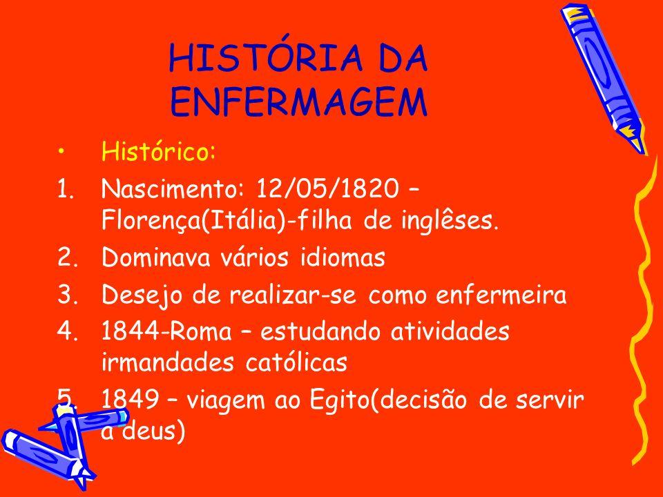 HISTÓRIA DA ENFERMAGEM Histórico: 1.Nascimento: 12/05/1820 – Florença(Itália)-filha de inglêses. 2.Dominava vários idiomas 3.Desejo de realizar-se com