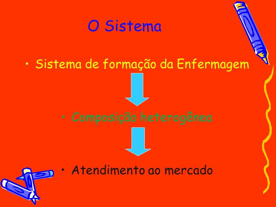 O Sistema Sistema de formação da Enfermagem Composição heterogênea Atendimento ao mercado