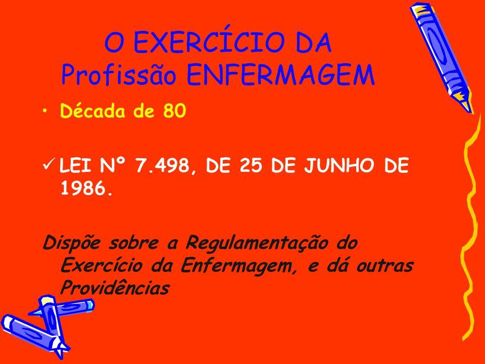 O EXERCÍCIO DA Profissão ENFERMAGEM Década de 80 LEI Nº 7.498, DE 25 DE JUNHO DE 1986. Dispõe sobre a Regulamentação do Exercício da Enfermagem, e dá