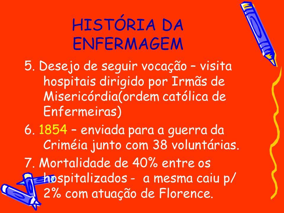 HISTÓRIA DA ENFERMAGEM 5. Desejo de seguir vocação – visita hospitais dirigido por Irmãs de Misericórdia(ordem católica de Enfermeiras) 6. 1854 – envi