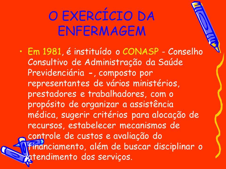 O EXERCÍCIO DA ENFERMAGEM Em 1981, é instituído o CONASP - Conselho Consultivo de Administração da Saúde Previdenciária -, composto por representantes