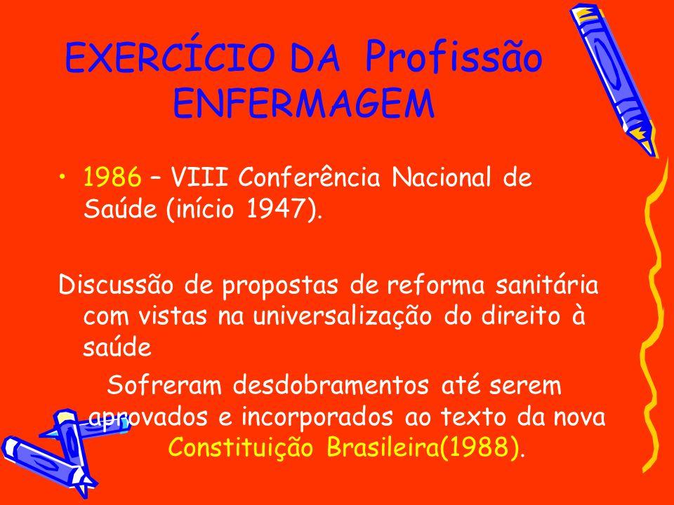 EXERCÍCIO DA Profissão ENFERMAGEM 1986 – VIII Conferência Nacional de Saúde (início 1947). Discussão de propostas de reforma sanitária com vistas na u