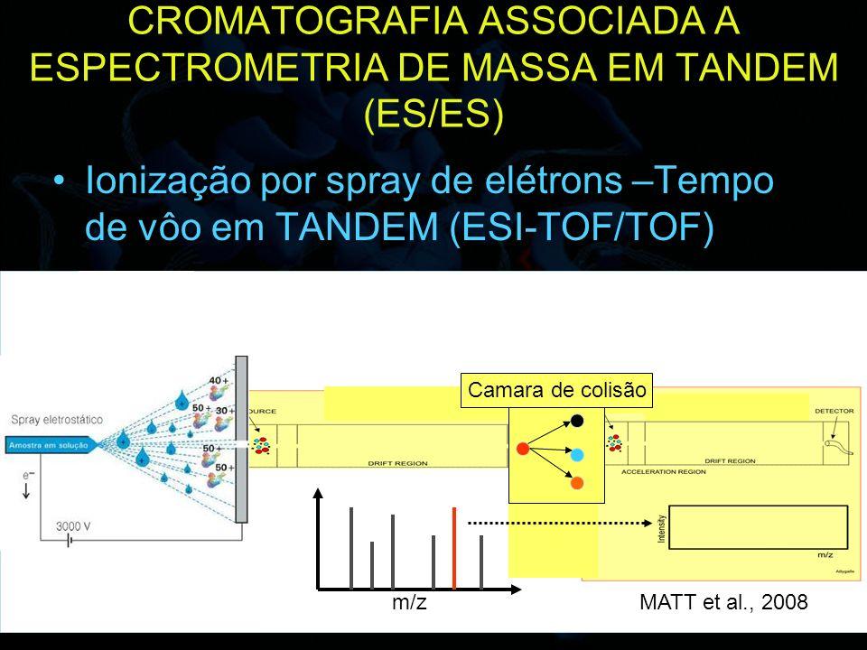 28 CROMATOGRAFIA ASSOCIADA A ESPECTROMETRIA DE MASSA EM TANDEM (ES/ES) Ionização por spray de elétrons –Tempo de vôo em TANDEM (ESI-TOF/TOF) m/z Camar