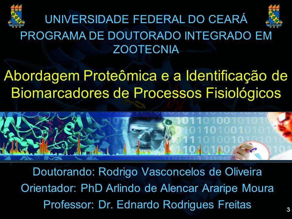 3 Abordagem Proteômica e a Identificação de Biomarcadores de Processos Fisiológicos Doutorando: Rodrigo Vasconcelos de Oliveira Orientador: PhD Arlind