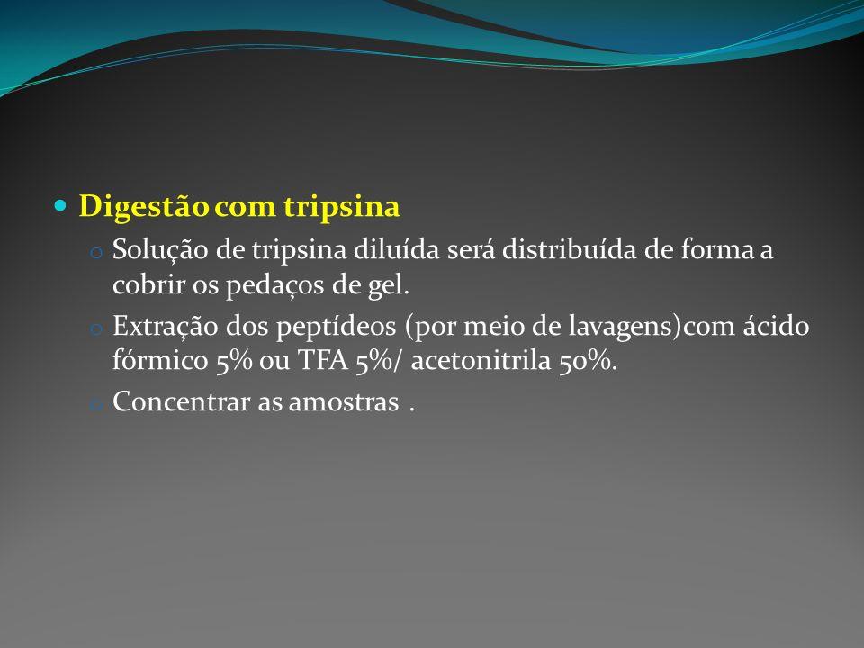 Digestão com tripsina o Solução de tripsina diluída será distribuída de forma a cobrir os pedaços de gel. o Extração dos peptídeos (por meio de lavage