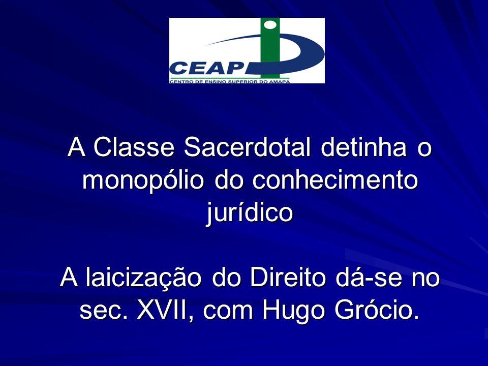 A Classe Sacerdotal detinha o monopólio do conhecimento jurídico A laicização do Direito dá-se no sec. XVII, com Hugo Grócio.