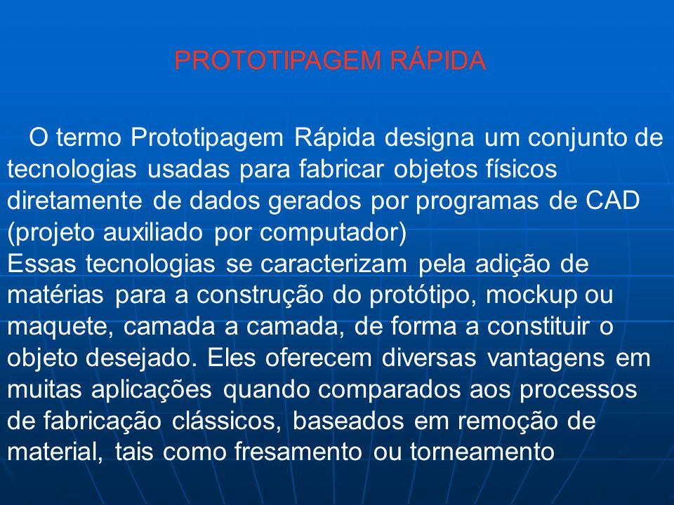 PROTOTIPAGEM RÁPIDA O termo Prototipagem Rápida designa um conjunto de tecnologias usadas para fabricar objetos físicos diretamente de dados gerados p
