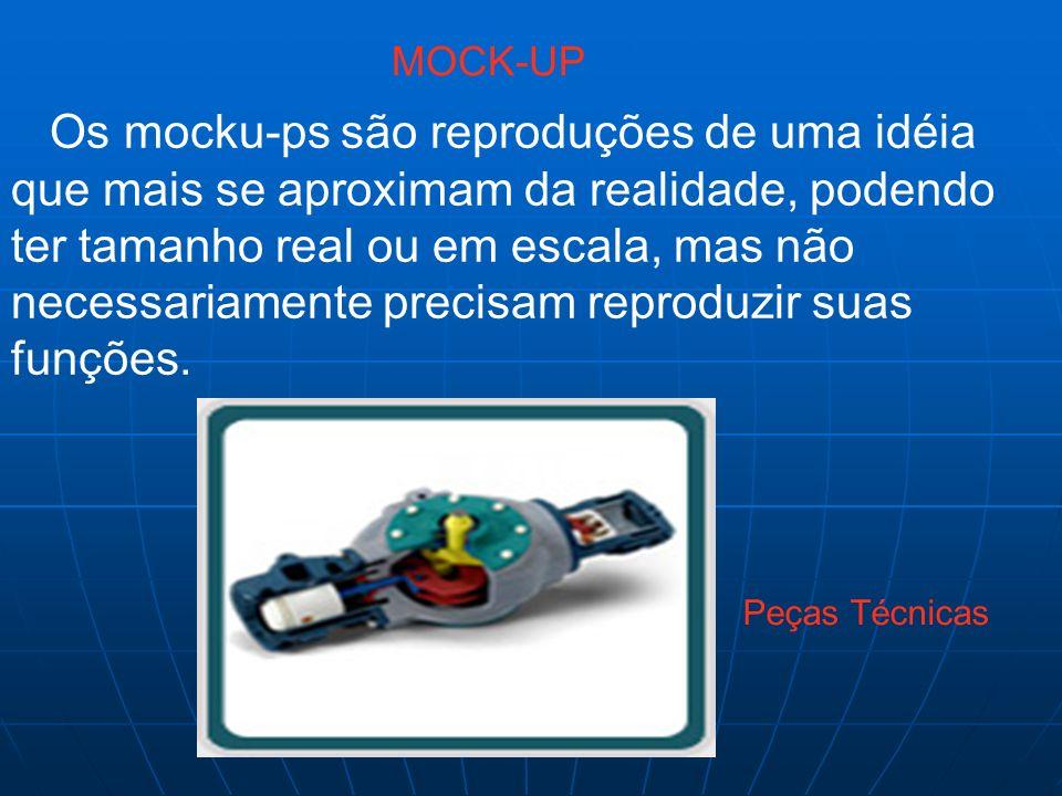 Os mocku-ps são reproduções de uma idéia que mais se aproximam da realidade, podendo ter tamanho real ou em escala, mas não necessariamente precisam r