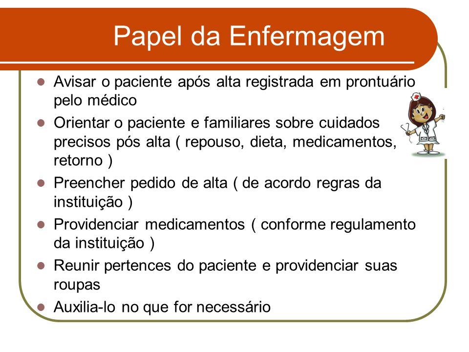 Papel da Enfermagem Avisar o paciente após alta registrada em prontuário pelo médico Orientar o paciente e familiares sobre cuidados precisos pós alta