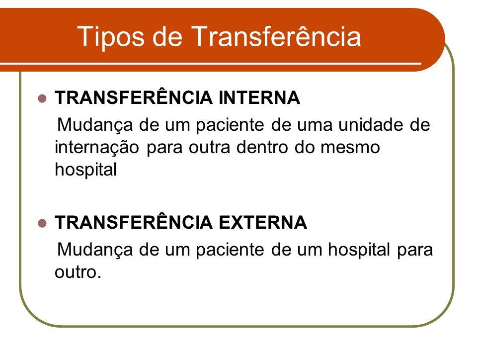 Tipos de Transferência TRANSFERÊNCIA INTERNA Mudança de um paciente de uma unidade de internação para outra dentro do mesmo hospital TRANSFERÊNCIA EXT