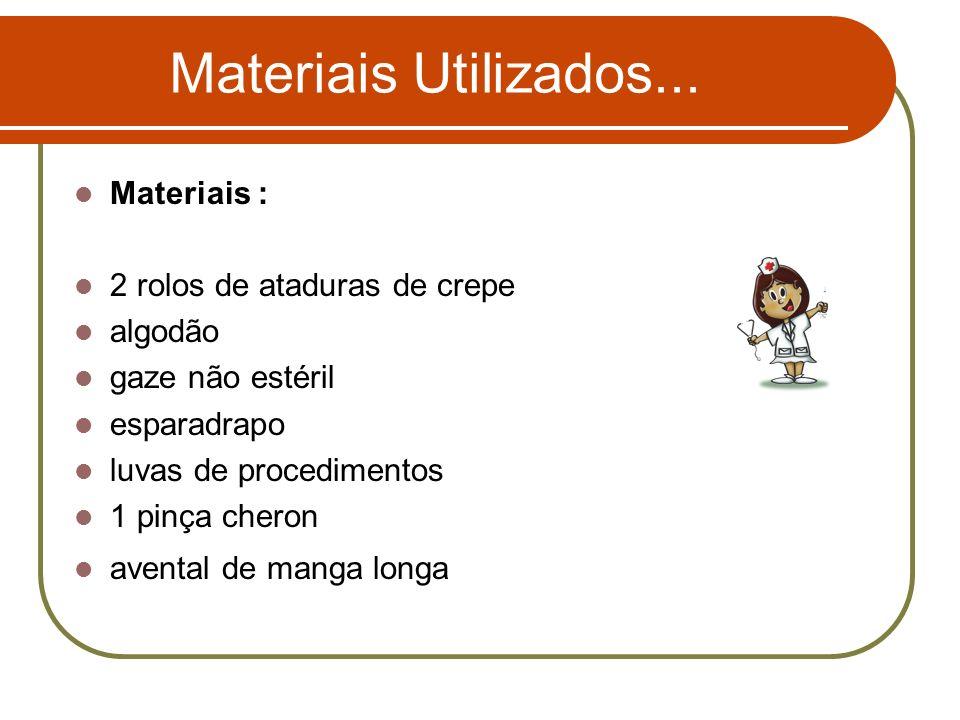 Materiais Utilizados... Materiais : 2 rolos de ataduras de crepe algodão gaze não estéril esparadrapo luvas de procedimentos 1 pinça cheron avental de