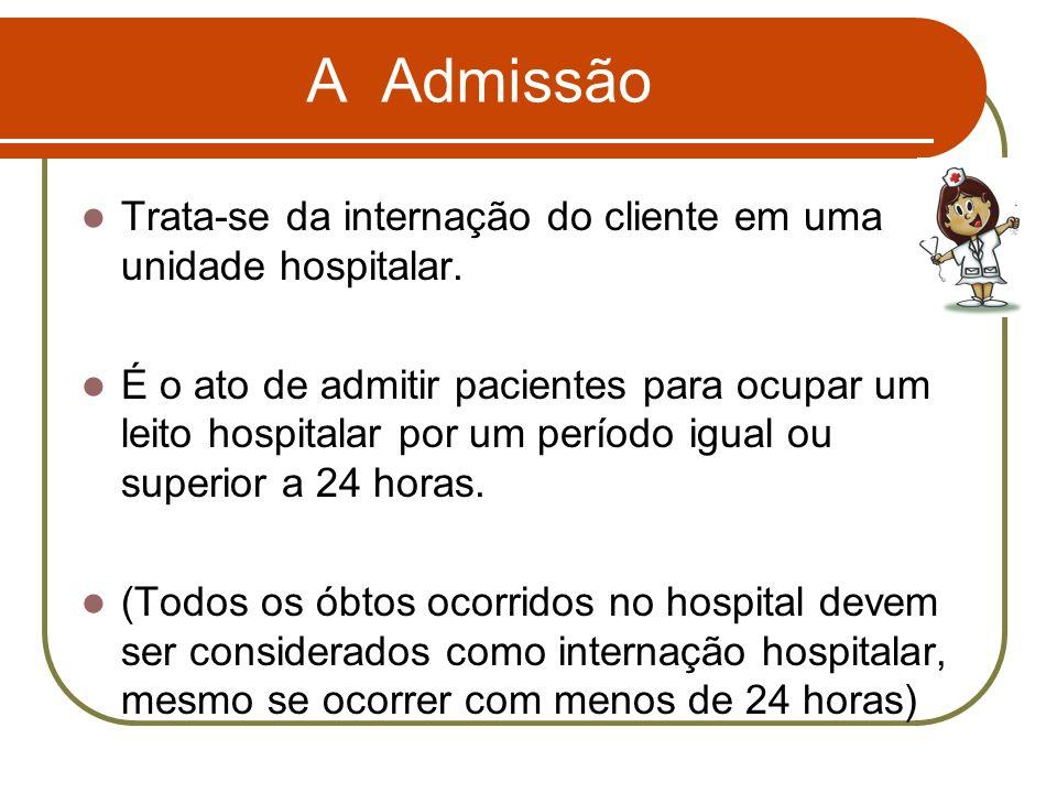 A Admissão Trata-se da internação do cliente em uma unidade hospitalar. É o ato de admitir pacientes para ocupar um leito hospitalar por um período ig