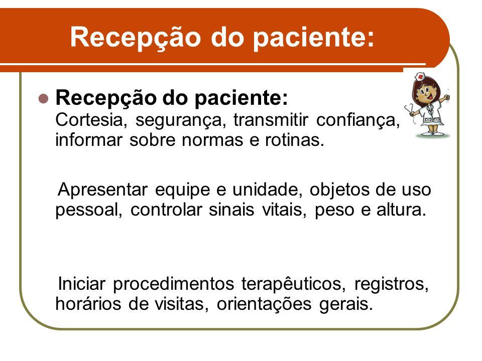 Recepção do paciente: Recepção do paciente: Cortesia, segurança, transmitir confiança, informar sobre normas e rotinas. Apresentar equipe e unidade, o