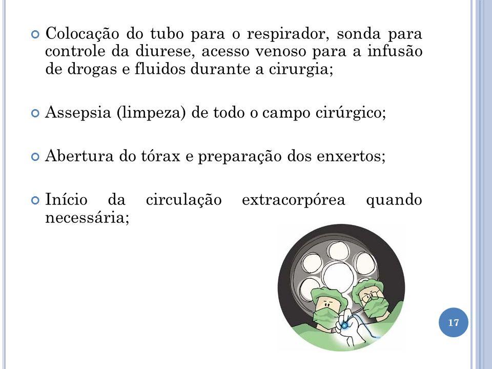 Colocação do tubo para o respirador, sonda para controle da diurese, acesso venoso para a infusão de drogas e fluidos durante a cirurgia; Assepsia (li
