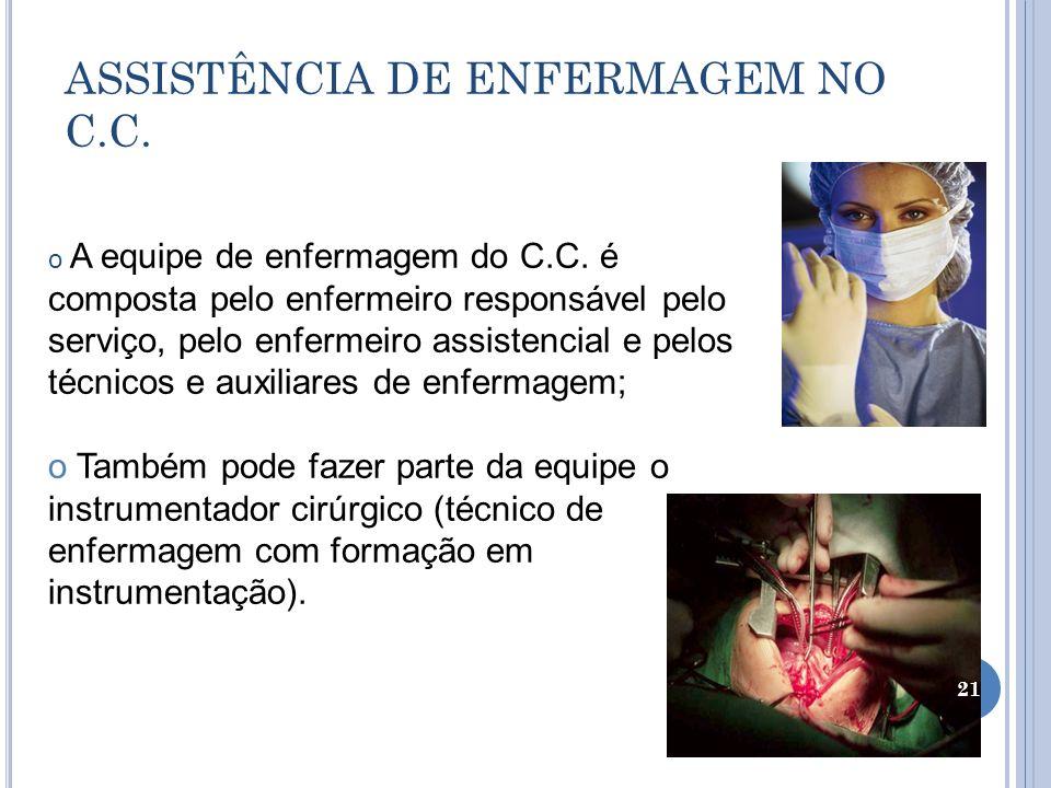 ASSISTÊNCIA DE ENFERMAGEM NO C.C. o A equipe de enfermagem do C.C. é composta pelo enfermeiro responsável pelo serviço, pelo enfermeiro assistencial e