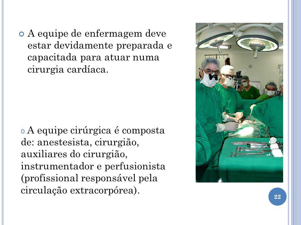 A equipe de enfermagem deve estar devidamente preparada e capacitada para atuar numa cirurgia cardíaca. o A equipe cirúrgica é composta de: anestesist