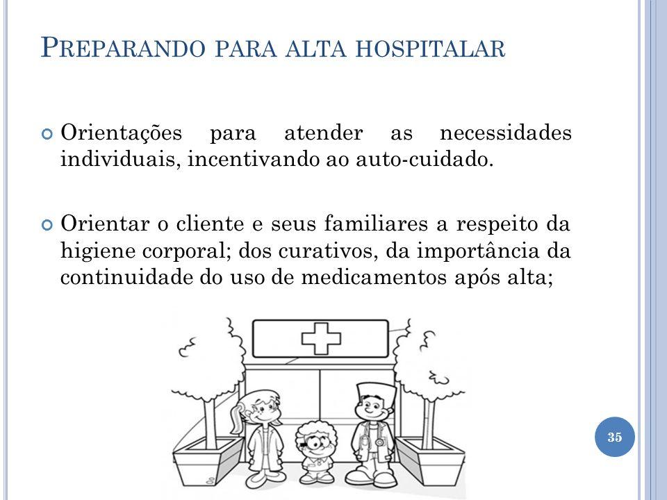 P REPARANDO PARA ALTA HOSPITALAR Orientações para atender as necessidades individuais, incentivando ao auto-cuidado. Orientar o cliente e seus familia