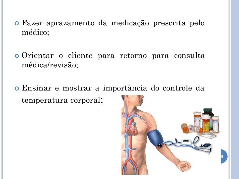 Fazer aprazamento da medicação prescrita pelo médico; Orientar o cliente para retorno para consulta médica/revisão; Ensinar e mostrar a importância do