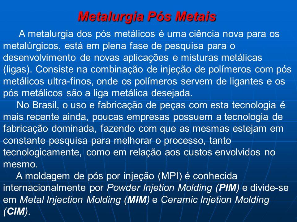 Metalurgia Pós Metais A metalurgia dos pós metálicos é uma ciência nova para os metalúrgicos, está em plena fase de pesquisa para o desenvolvimento de novas aplicações e misturas metálicas (ligas).