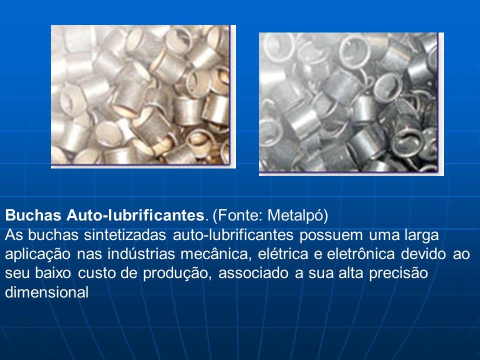 Buchas Auto-lubrificantes. (Fonte: Metalpó) As buchas sintetizadas auto-lubrificantes possuem uma larga aplicação nas indústrias mecânica, elétrica e