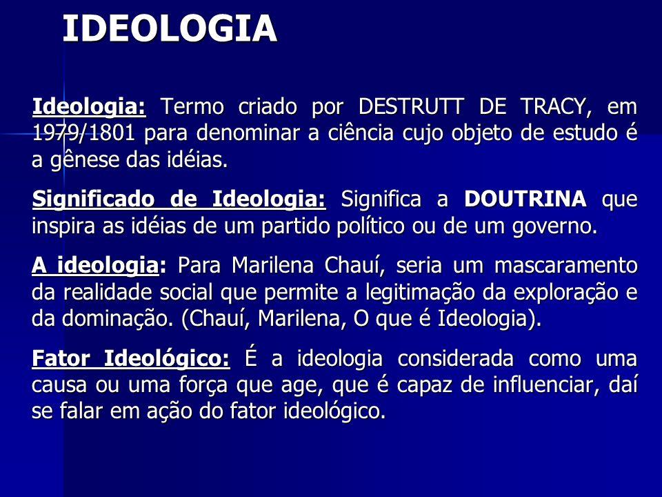 IDEOLOGIA Ideologia: Termo criado por DESTRUTT DE TRACY, em 1979/1801 para denominar a ciência cujo objeto de estudo é a gênese das idéias. Ideologia: