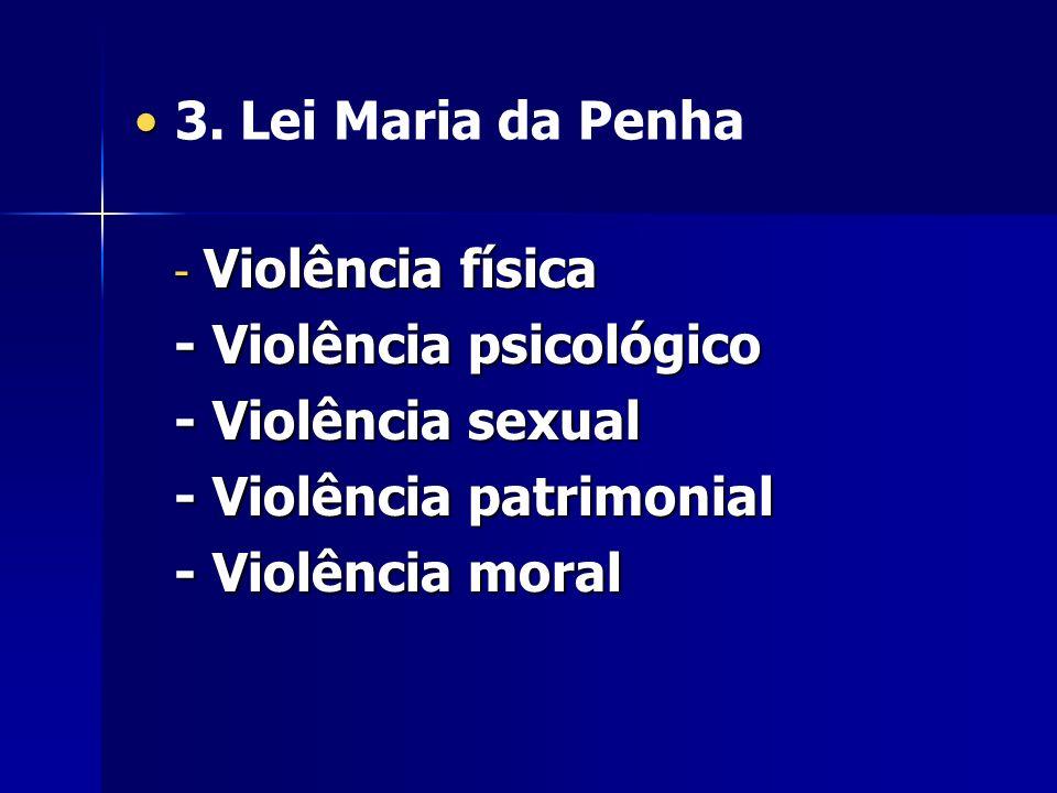 3. Lei Maria da Penha - Violência física - Violência psicológico - Violência sexual - Violência patrimonial - Violência moral