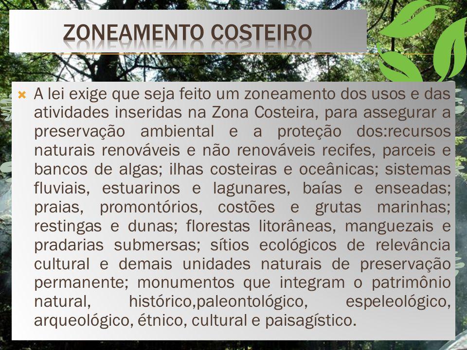 Obedecendo à norma constitucional(art. 225, § 4º ) que determinou um regime especial de tutela para a costa brasileira, o legislador brasileiro estabe