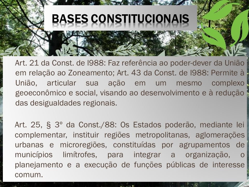 Art.21 da Const. de l988: Faz referência ao poder-dever da União em relação ao Zoneamento; Art.
