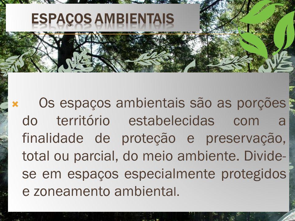 Os espaços ambientais são as porções do território estabelecidas com a finalidade de proteção e preservação, total ou parcial, do meio ambiente.