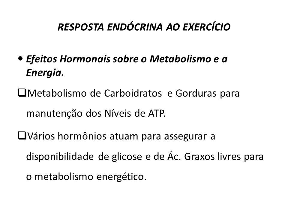 RESPOSTA ENDÓCRINA AO EXERCÍCIO Efeitos Hormonais sobre o Metabolismo e a Energia.IÕES IMPORTANTES: Metabolismo de Carboidratos e Gorduras para manute