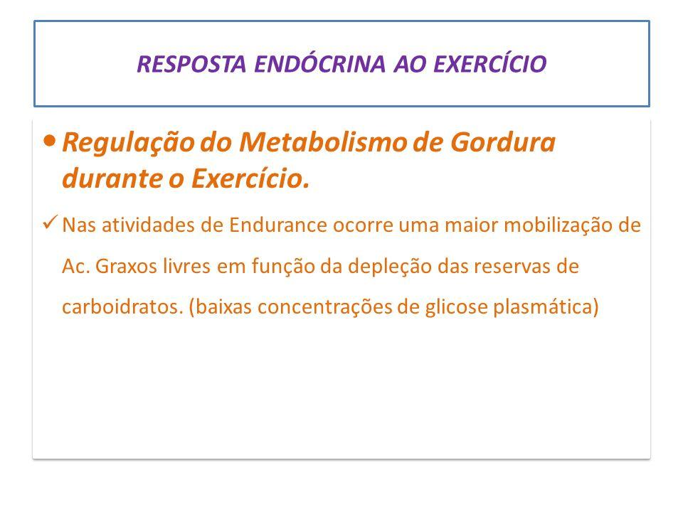 RESPOSTA ENDÓCRINA AO EXERCÍCIO Regulação do Metabolismo de Gordura durante o Exercício. Nas atividades de Endurance ocorre uma maior mobilização de A