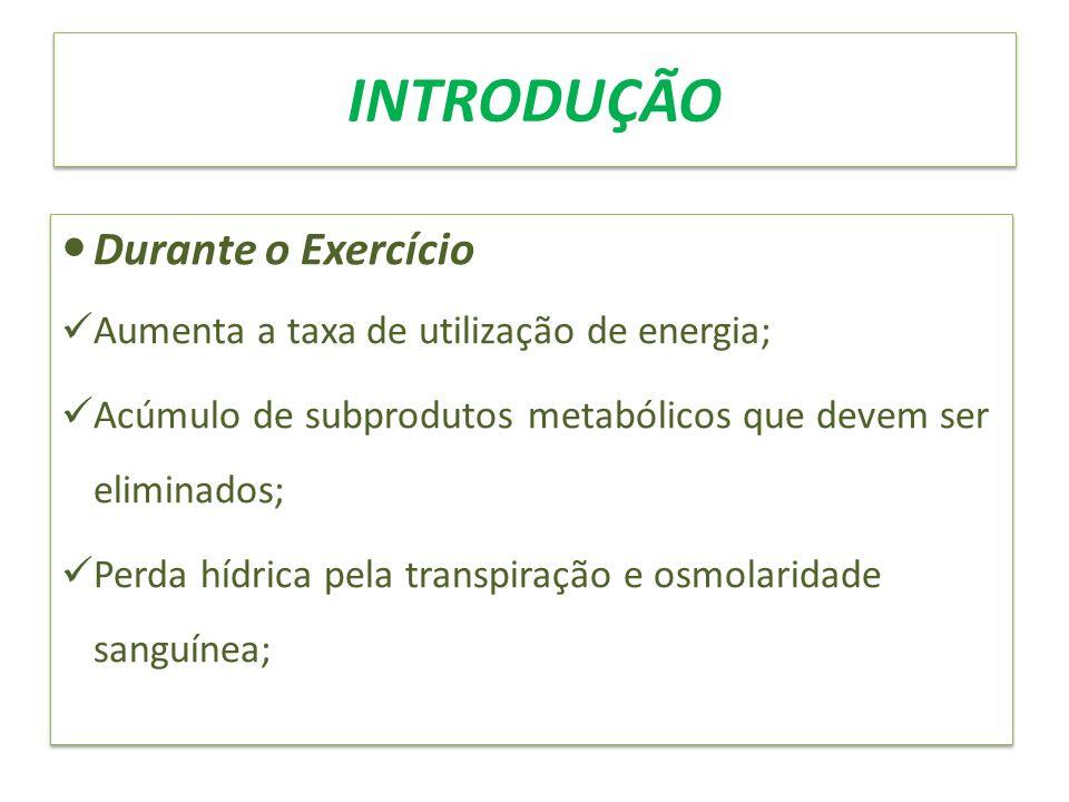 INTRODUÇÃO Durante o Exercício Aumenta a taxa de utilização de energia; Acúmulo de subprodutos metabólicos que devem ser eliminados; Perda hídrica pel