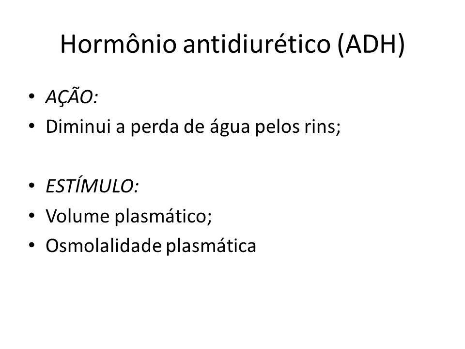 Hormônio antidiurético (ADH) AÇÃO: Diminui a perda de água pelos rins; ESTÍMULO: Volume plasmático; Osmolalidade plasmática