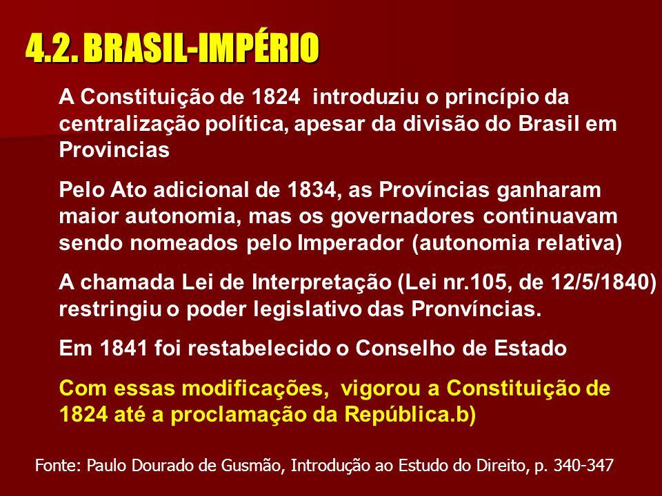 4.2. BRASIL-IMPÉRIO a)Em 1821, Portugal impõe a Constituição Espanhola-1812 b)Em 7/9/1822, o Brasil declara a sua independência política de Portugal –
